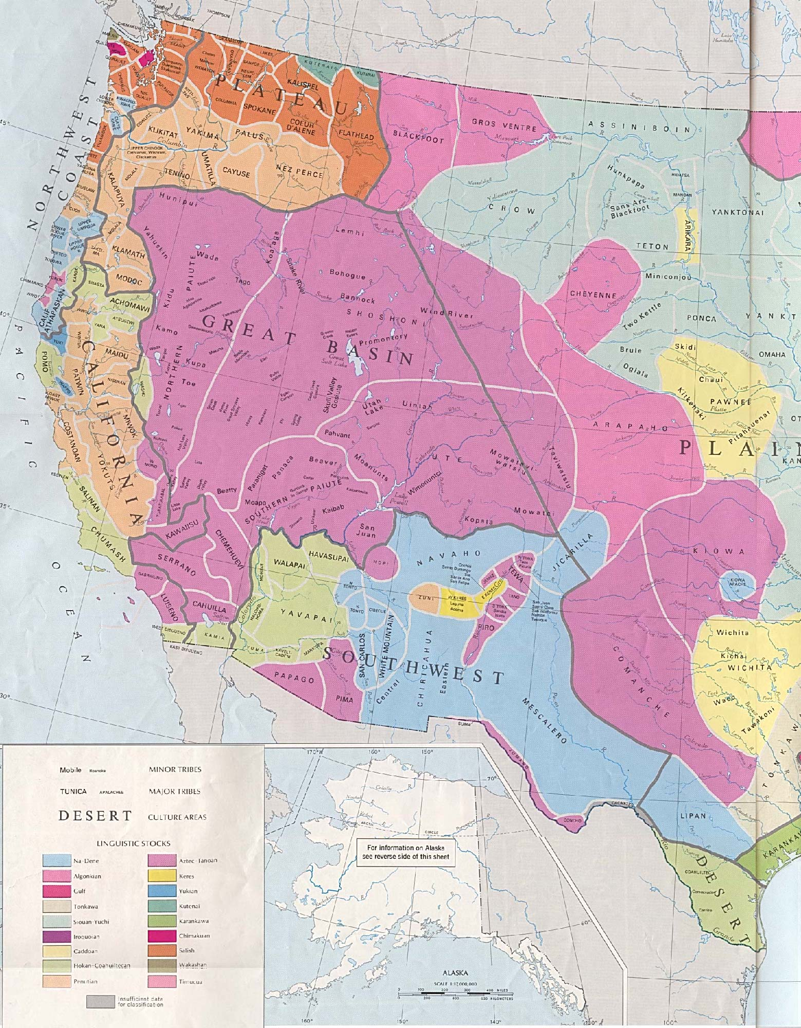 early indian tribes culture areas and linguistic stocks western u s