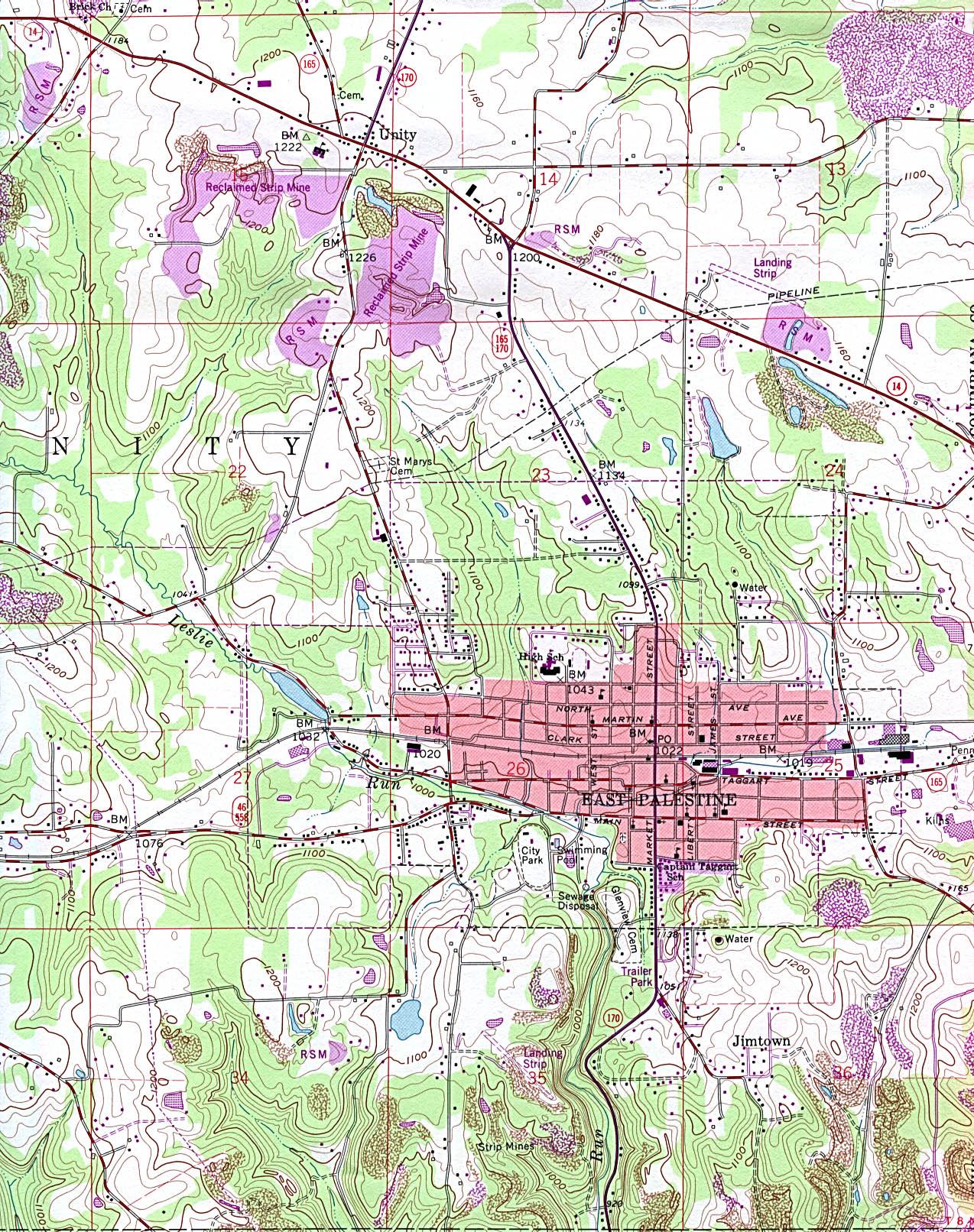 Maps of Ohio. East Palestine [Topographic Map] original scale 1:24,000 U.S.G.S. 1960, photorevised 1990 (791K)