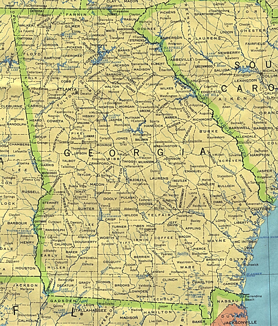 Map Of Georgia Showing Cities.Georgia Maps Perry Castaneda Map Collection Ut Library Online
