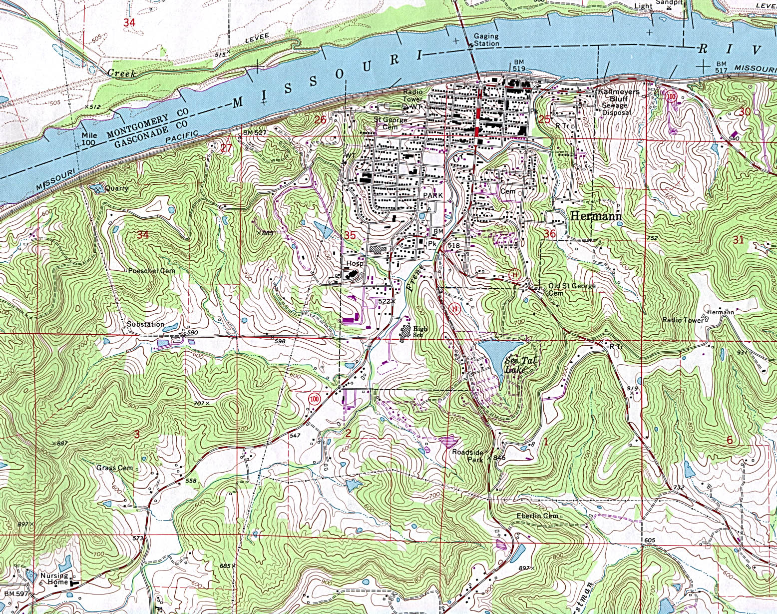 1Up Travel  Maps Of MissouriHermann Topographic Map