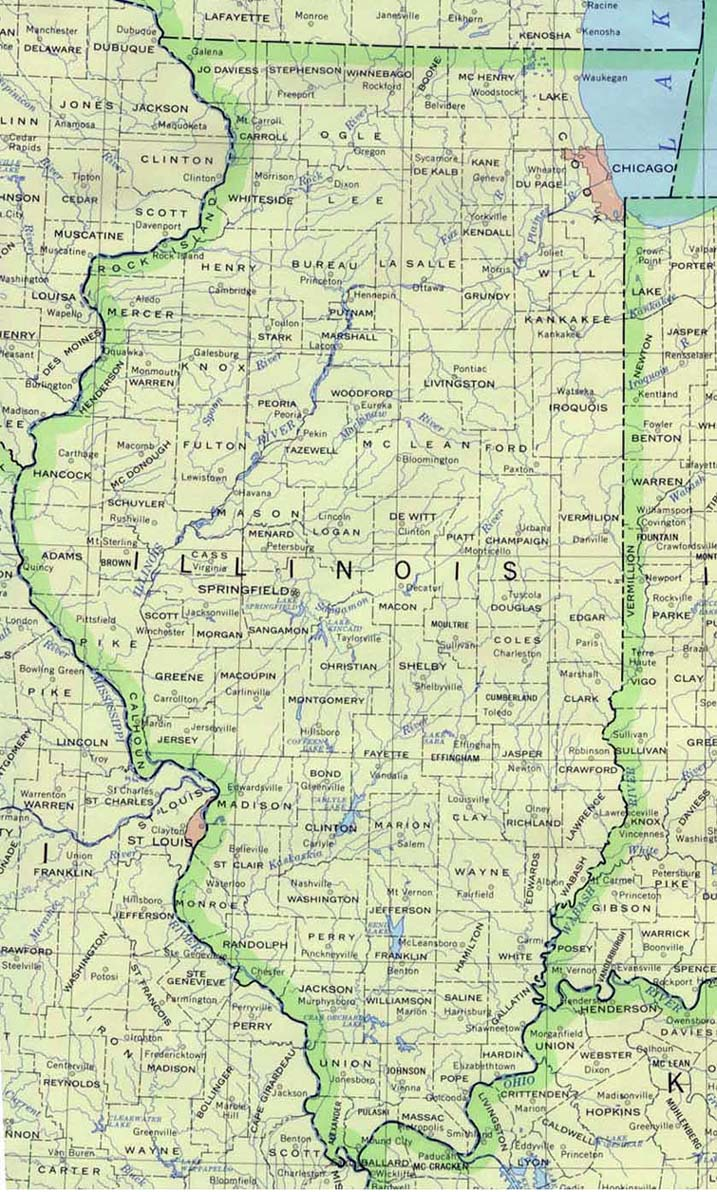 photo regarding Illinois County Map Printable called Illinois Maps - Perry-Castañeda Map Choice - UT Library