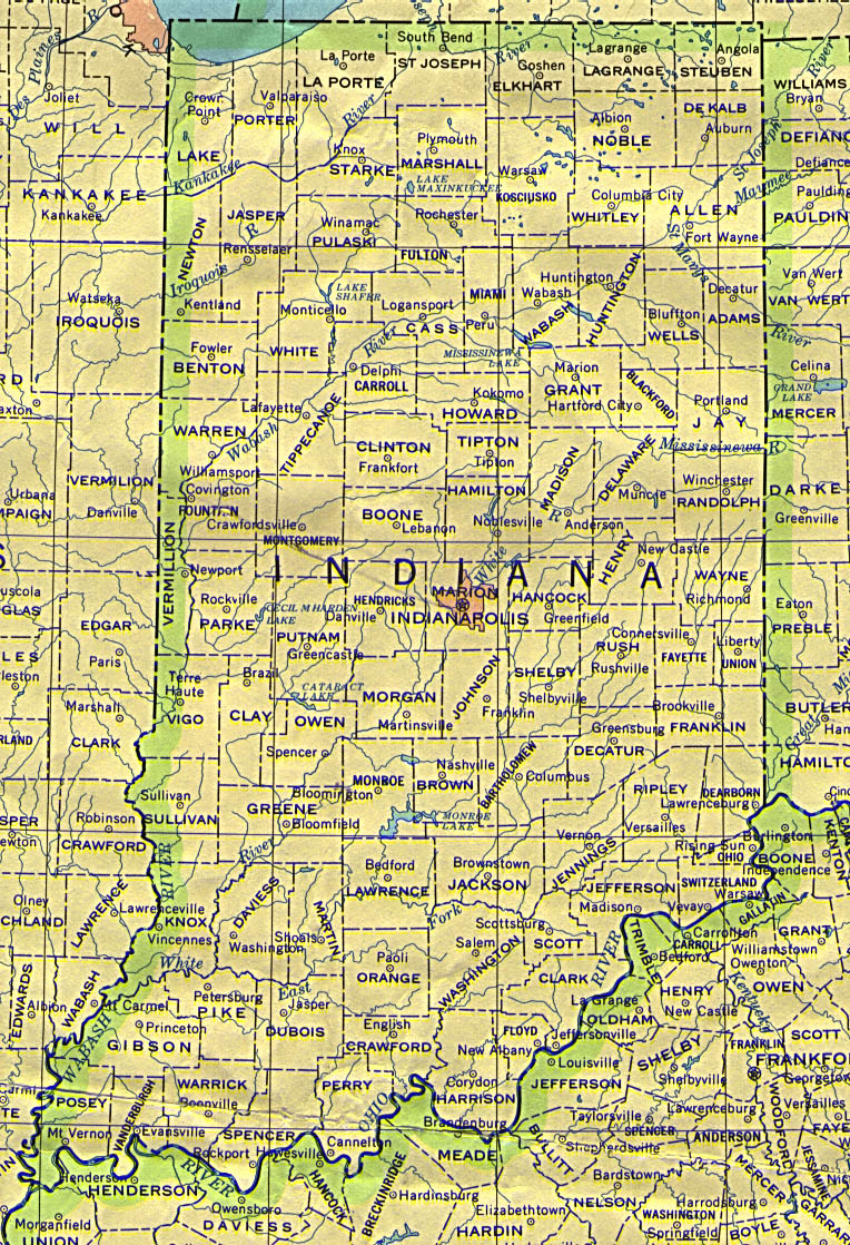 Indiana Outline Maps And Map Links - Indiana physical map