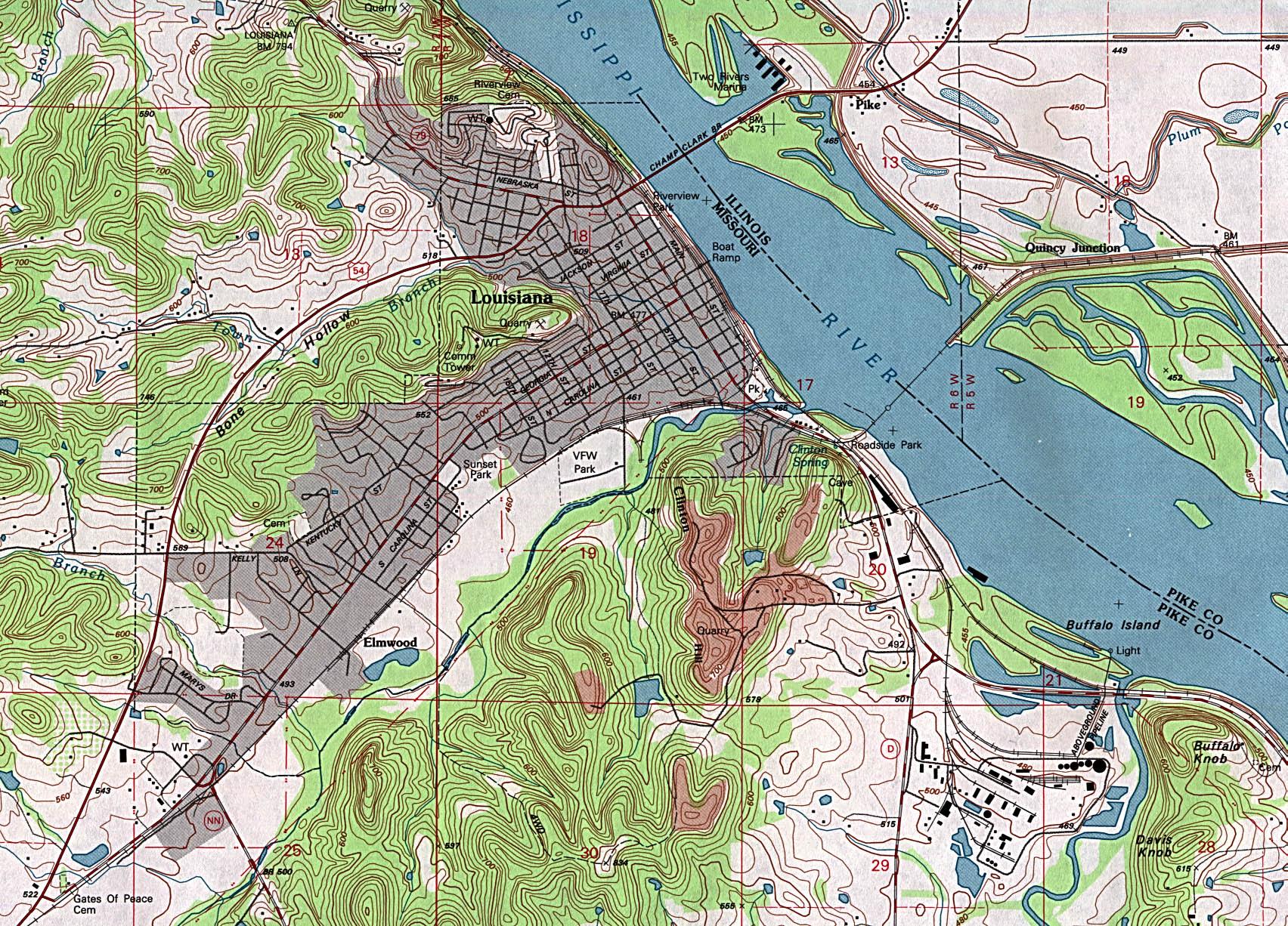 Elevation Map of Louisiana Louisiana Topographic Map