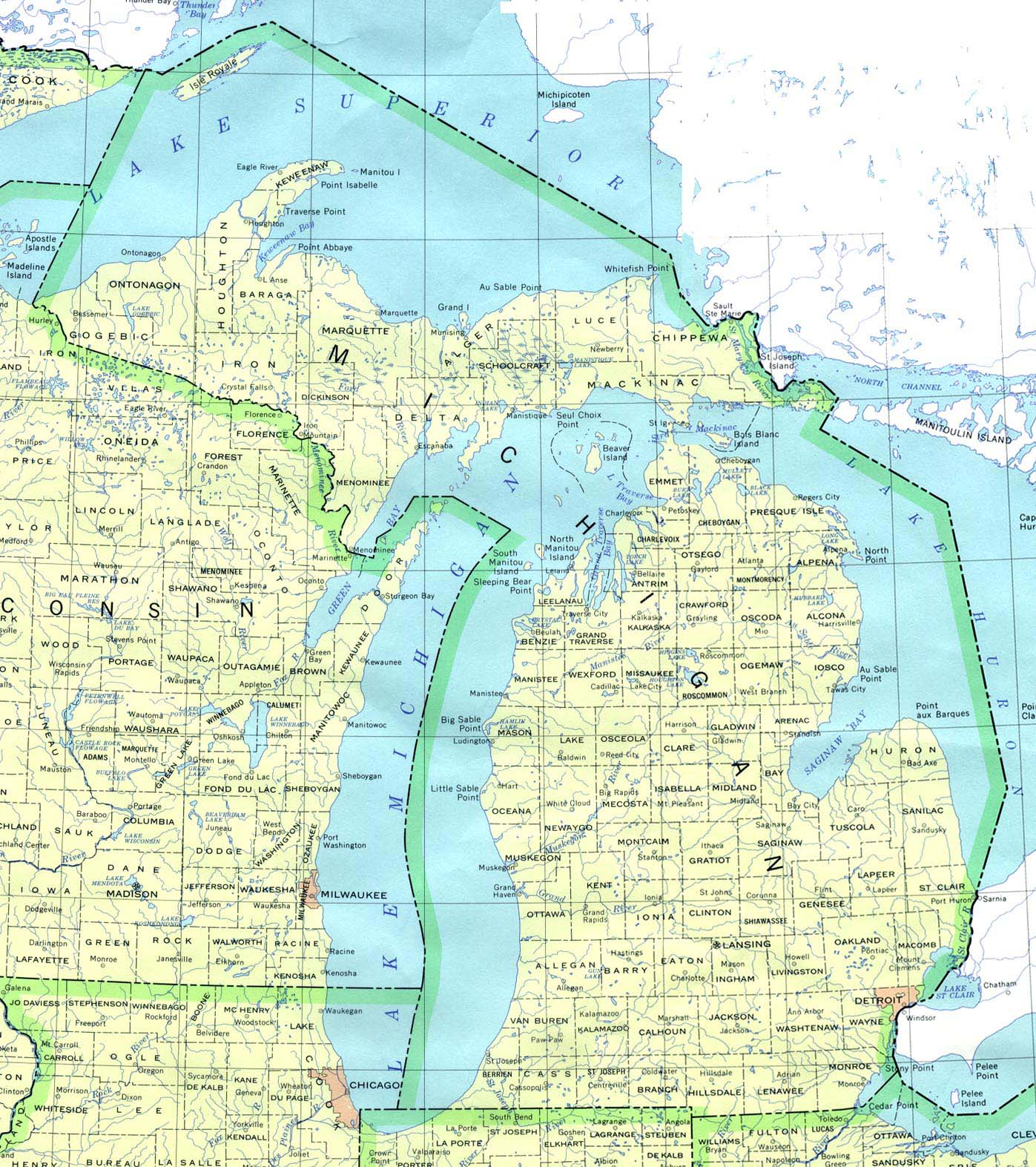 Michigan Outline Maps And Map Links