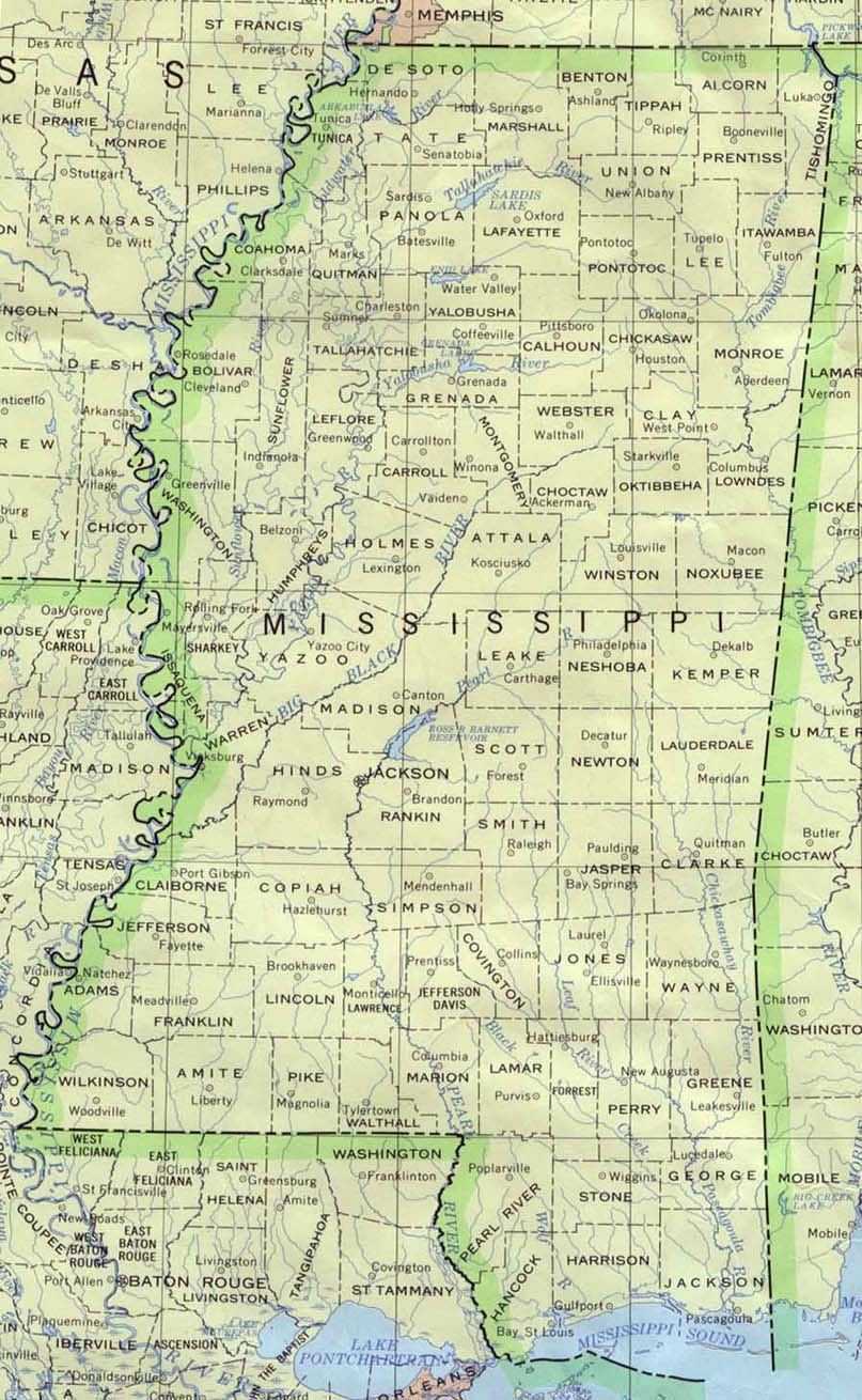 map of mississippi counties with names Mississippi Maps Perry Castaneda Map Collection Ut Library Online map of mississippi counties with names
