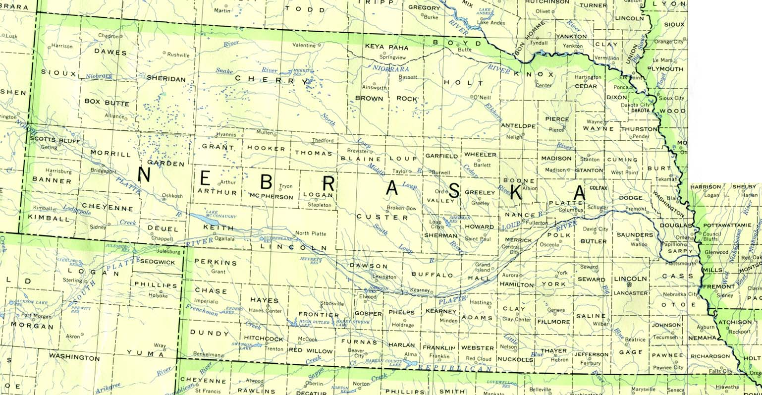 Nebraska Outline Maps And Map Links - Nebraska physical map