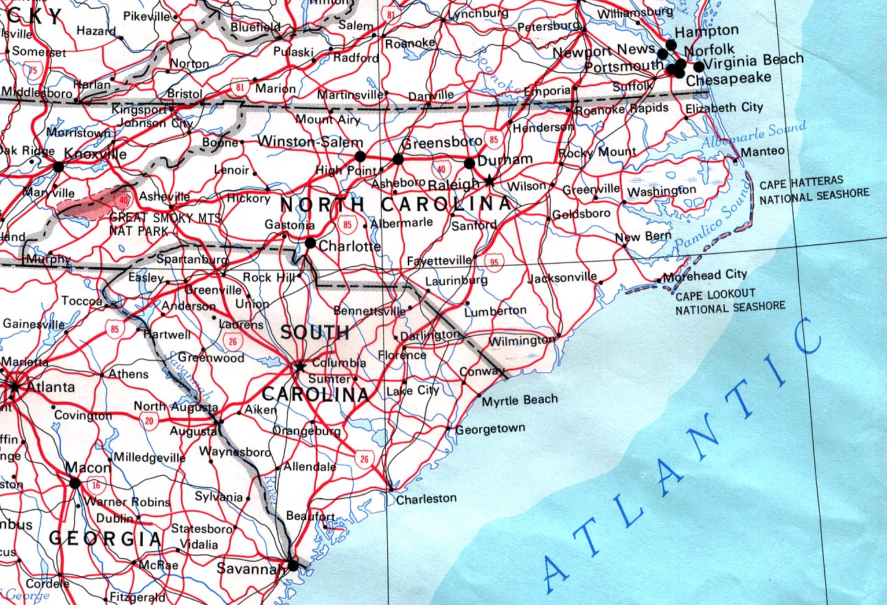 north carolina road map