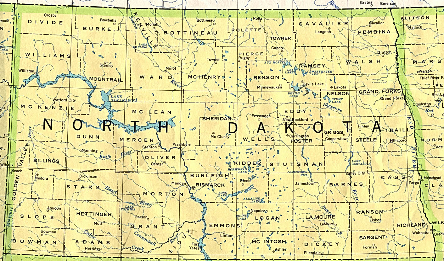 North Dakota Map North Dakota Maps   Perry Castañeda Map Collection   UT Library Online North Dakota Map