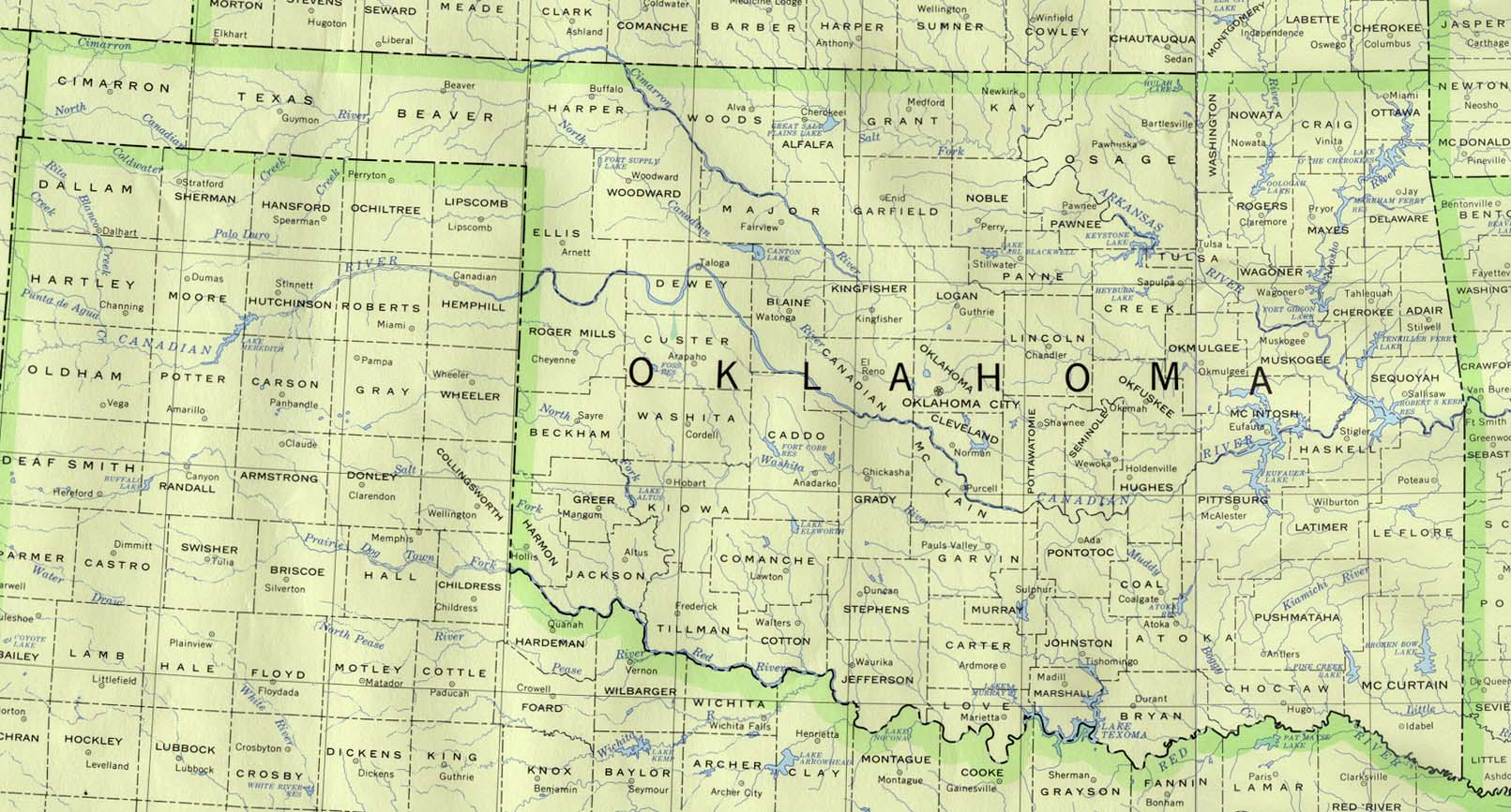 State Of Oklahoma Mapsof Interstate Highways Cities Typography - Oklahoma road map