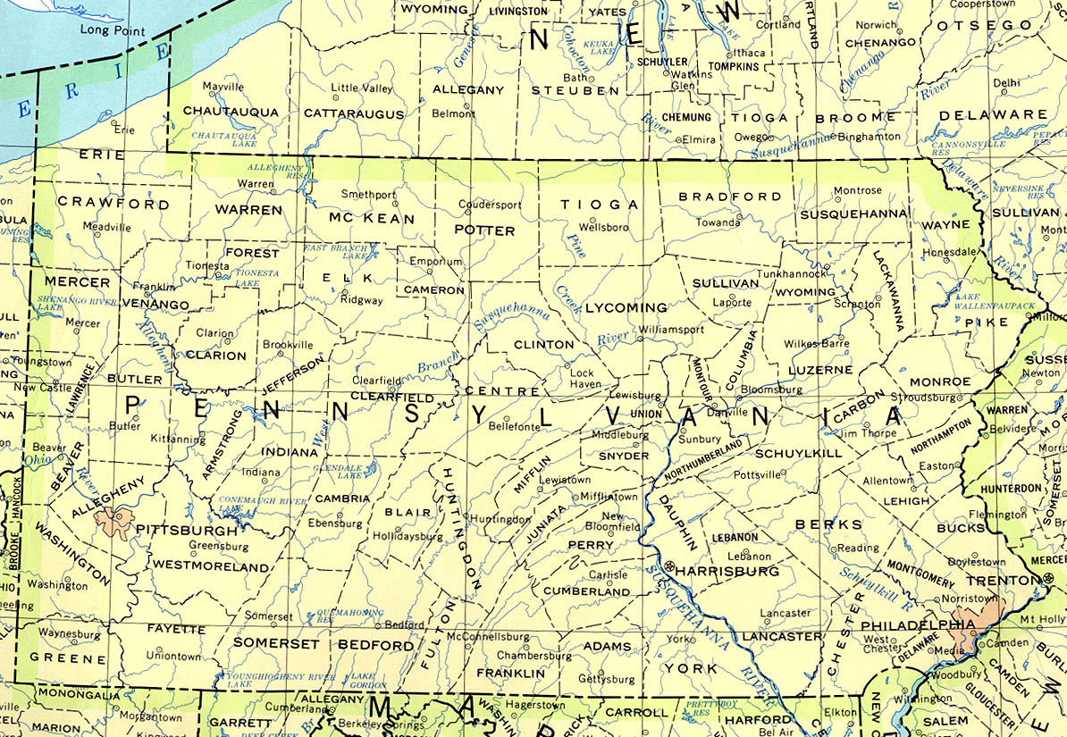 Pa State Map With Counties And Cities.Pennsylvania Maps Perry Castaneda Map Collection Ut Library Online