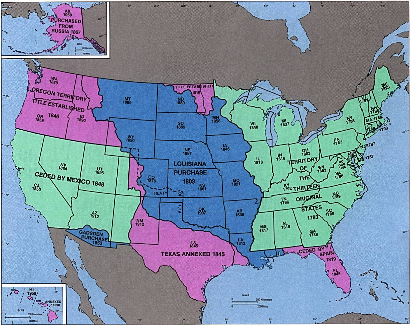 Map Of The Us In 1800.Maps Of U S History