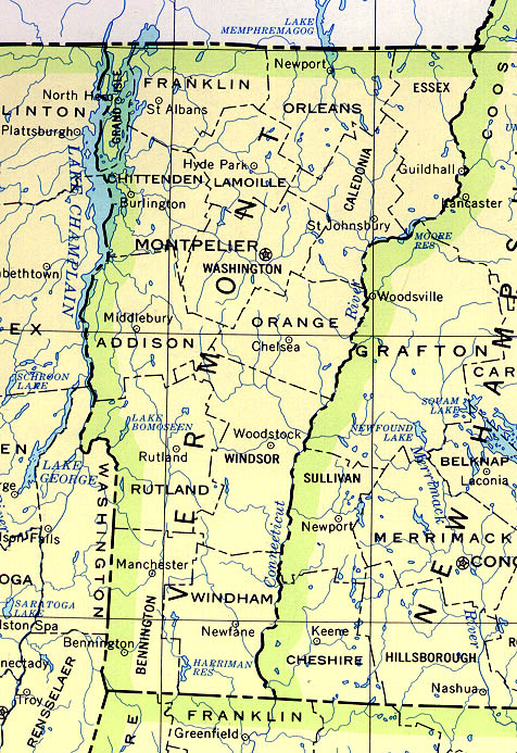 Vermont Outline Maps And Map Links - Vermont political map