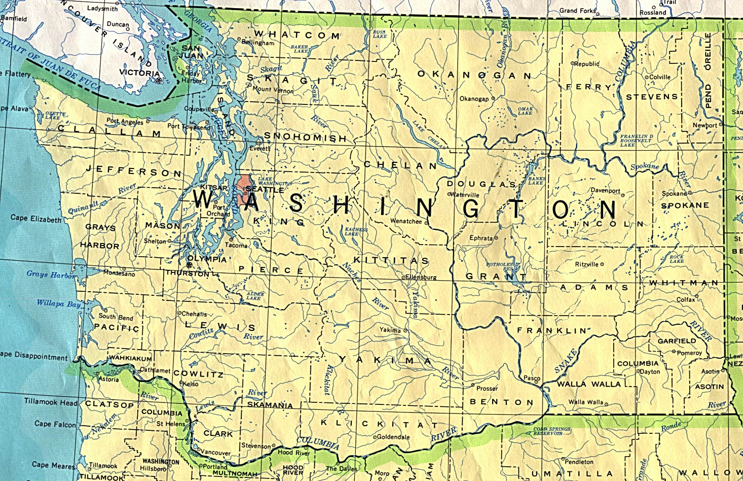 A Map Of Washington State Washington Maps   Perry Castañeda Map Collection   UT Library Online