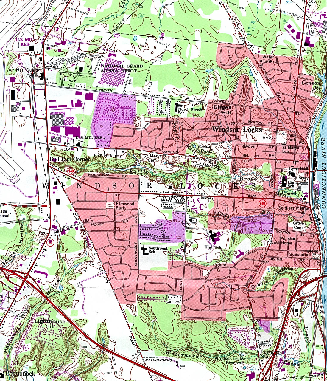 Windsor Locks Ct City Map Topo Usgs Click Here