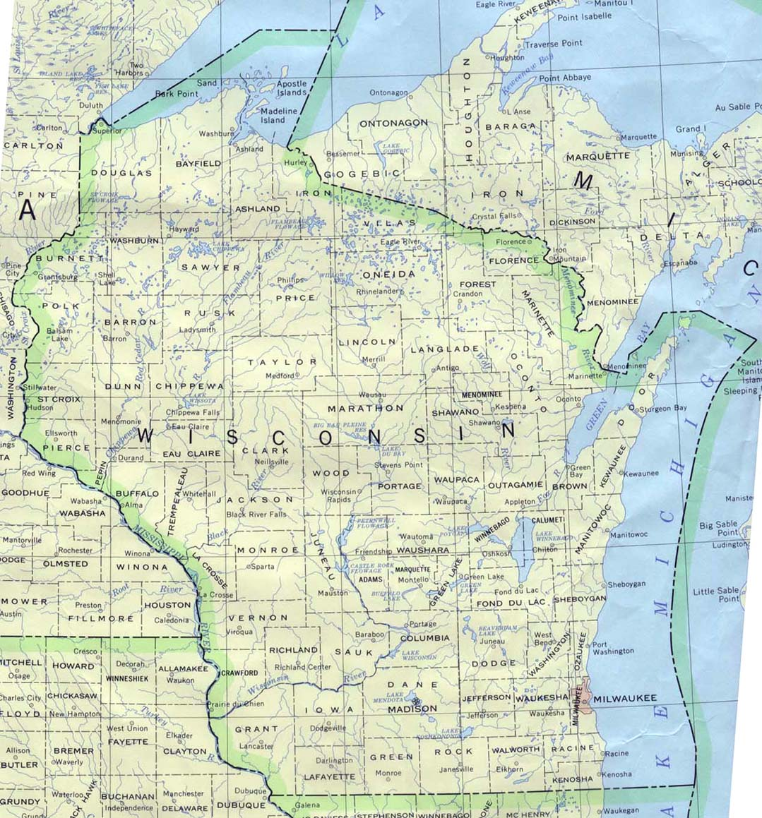 Wisconsin Maps PerryCastañeda Map Collection UT Library Online - Map of wisconsin with cities