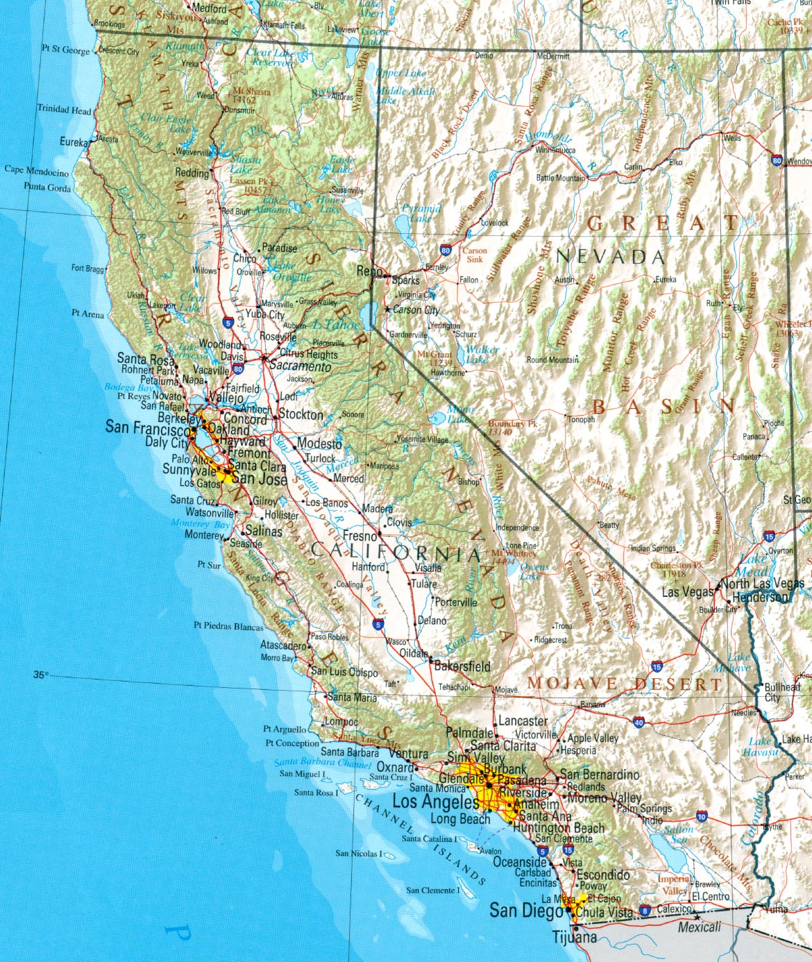 California Outline Maps And Map Links - Simple map of western us
