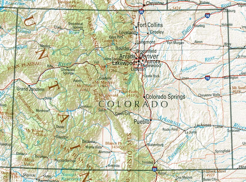 Topographical Map Of Colorado | Smeka