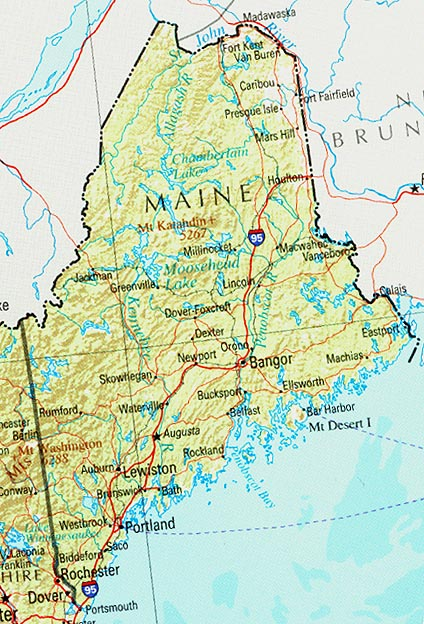 Map Of Maine Lakes.Maine Tourist Attractions Portland Bar Harbor Weather Guides Maps