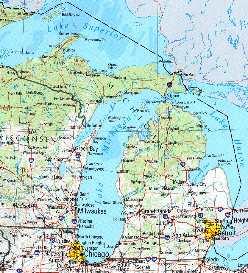 Map Of Michigan A Source For All Kinds Of Maps Of Michigan