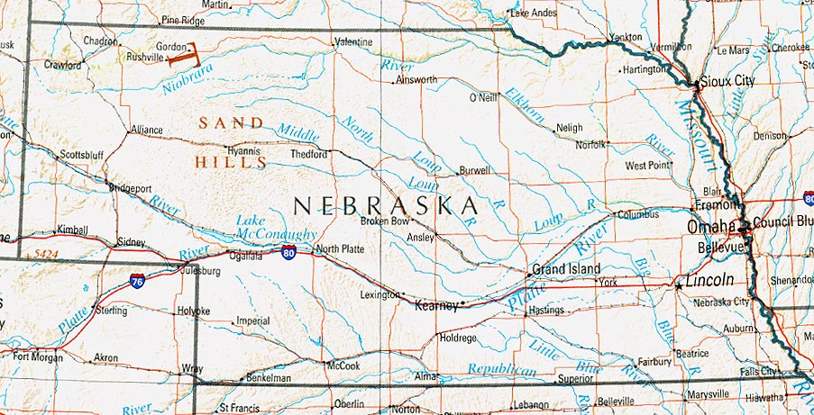 Nebraska Maps PerryCastañeda Map Collection UT Library Online - Nebraska on the us map