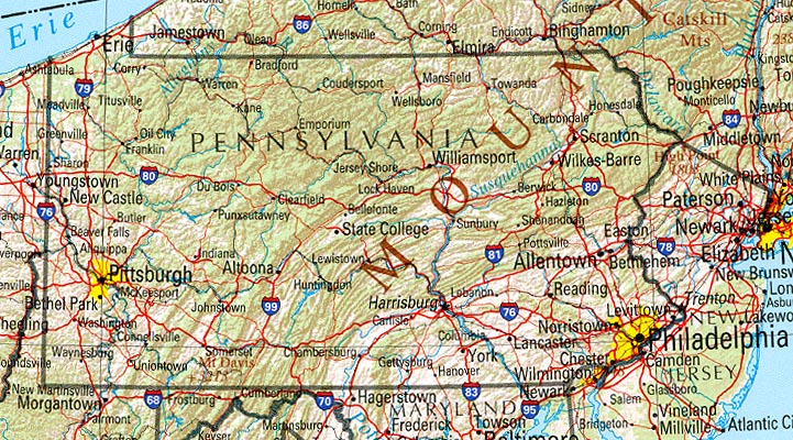 Pennsylvania Maps Perrycastañeda Map Collection Ut Library Online: Map Of New York Pennsylvania At Usa Maps