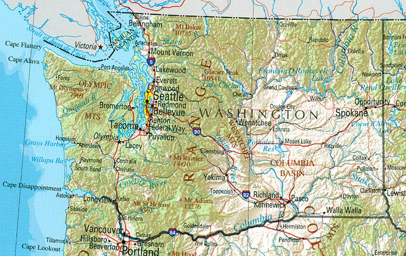 Geographical Map Of Washington State Creativehobby Store