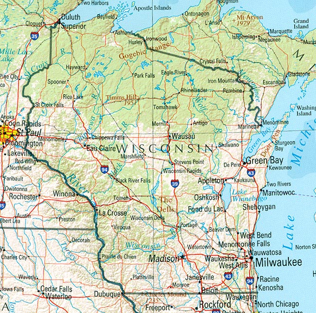... Wisconsin (reference map) ...