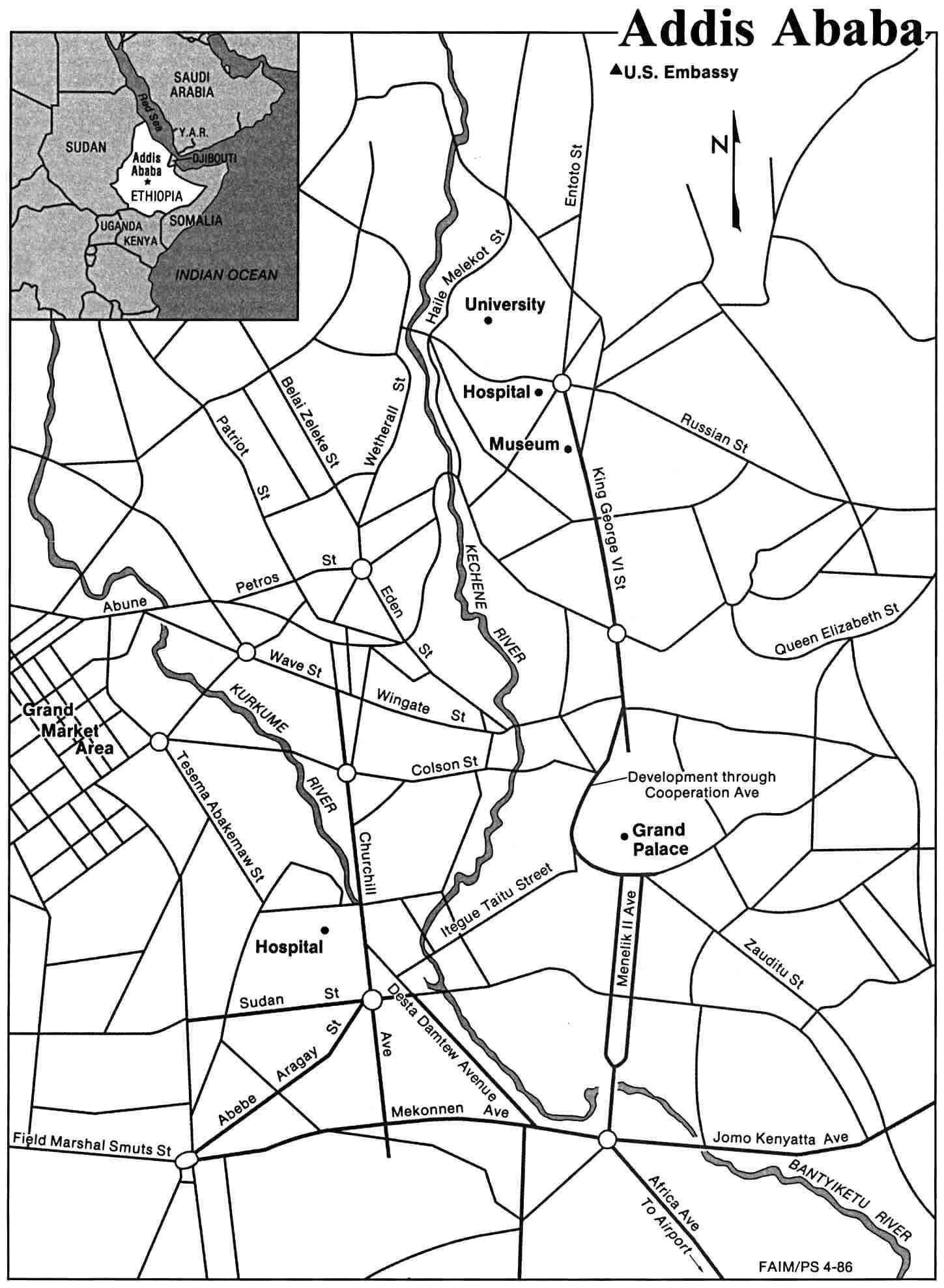 Landkaart van Ethiopia