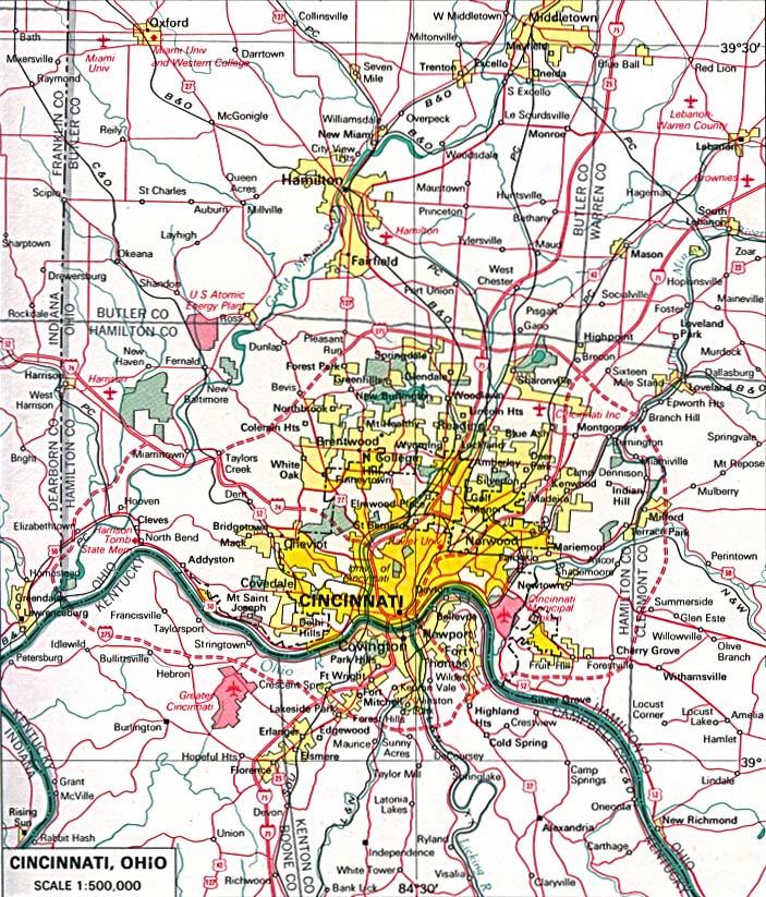 Maps of U.S. Metropolitan Areas. Cincinnati, Ohio 1970 (227K)