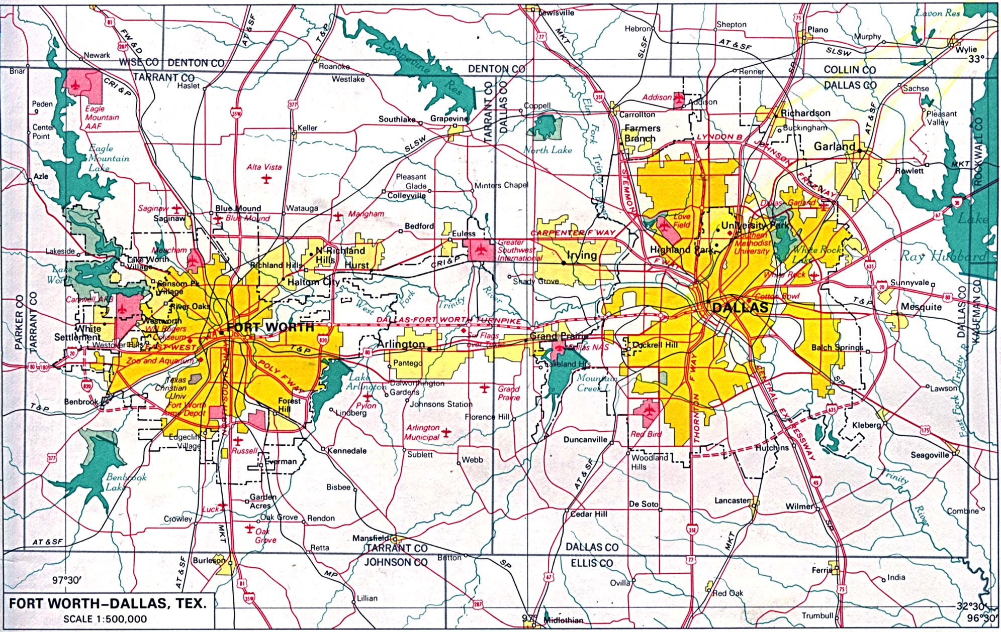 Maps of U.S. Metropolitan Areas. Dallas-Fort Worth, Texas 1970 (666K)