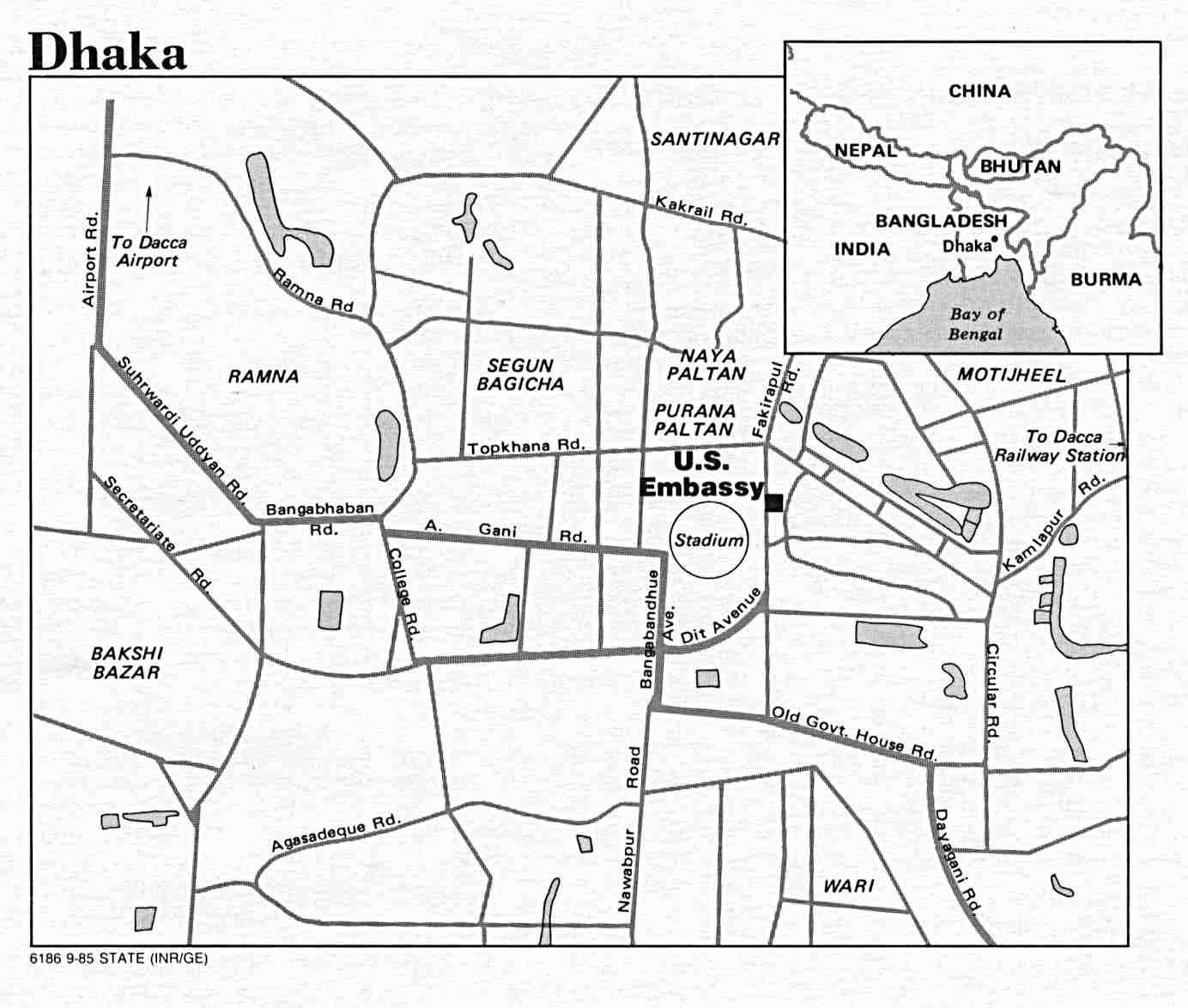 Dhaka Mapa de ciudad, Bangladesh 1985.