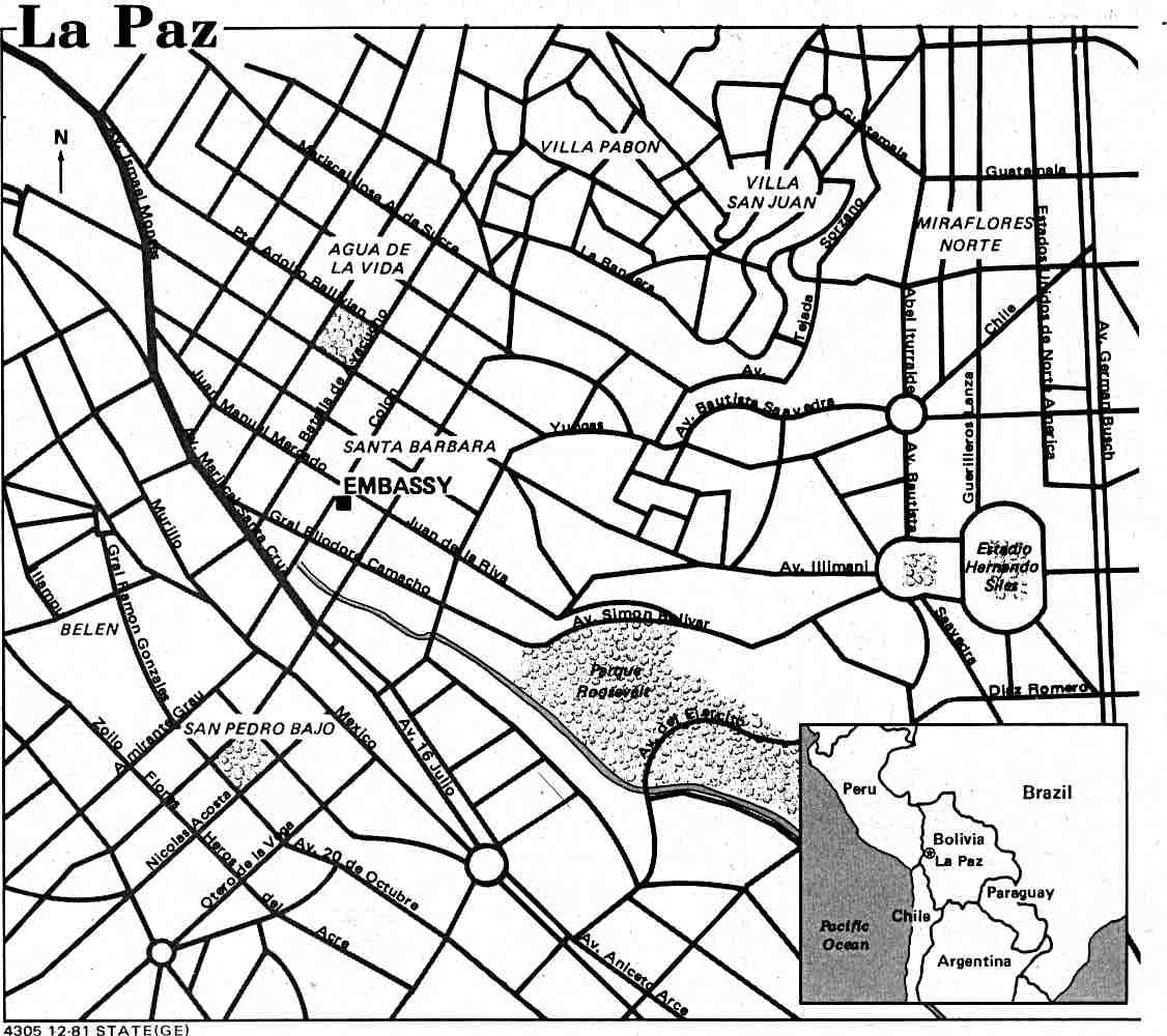 La Paz Mapa de ciudad, Bolivia 1981.