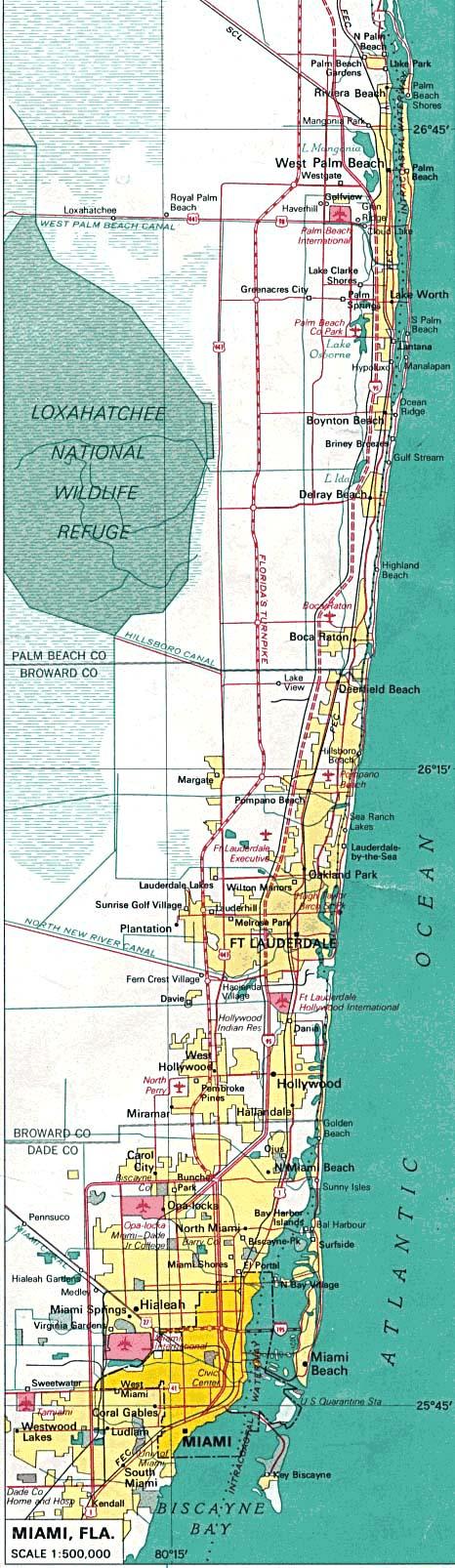 Maps of U.S. Metropolitan Areas. Miami, Florida 1970 (210K)