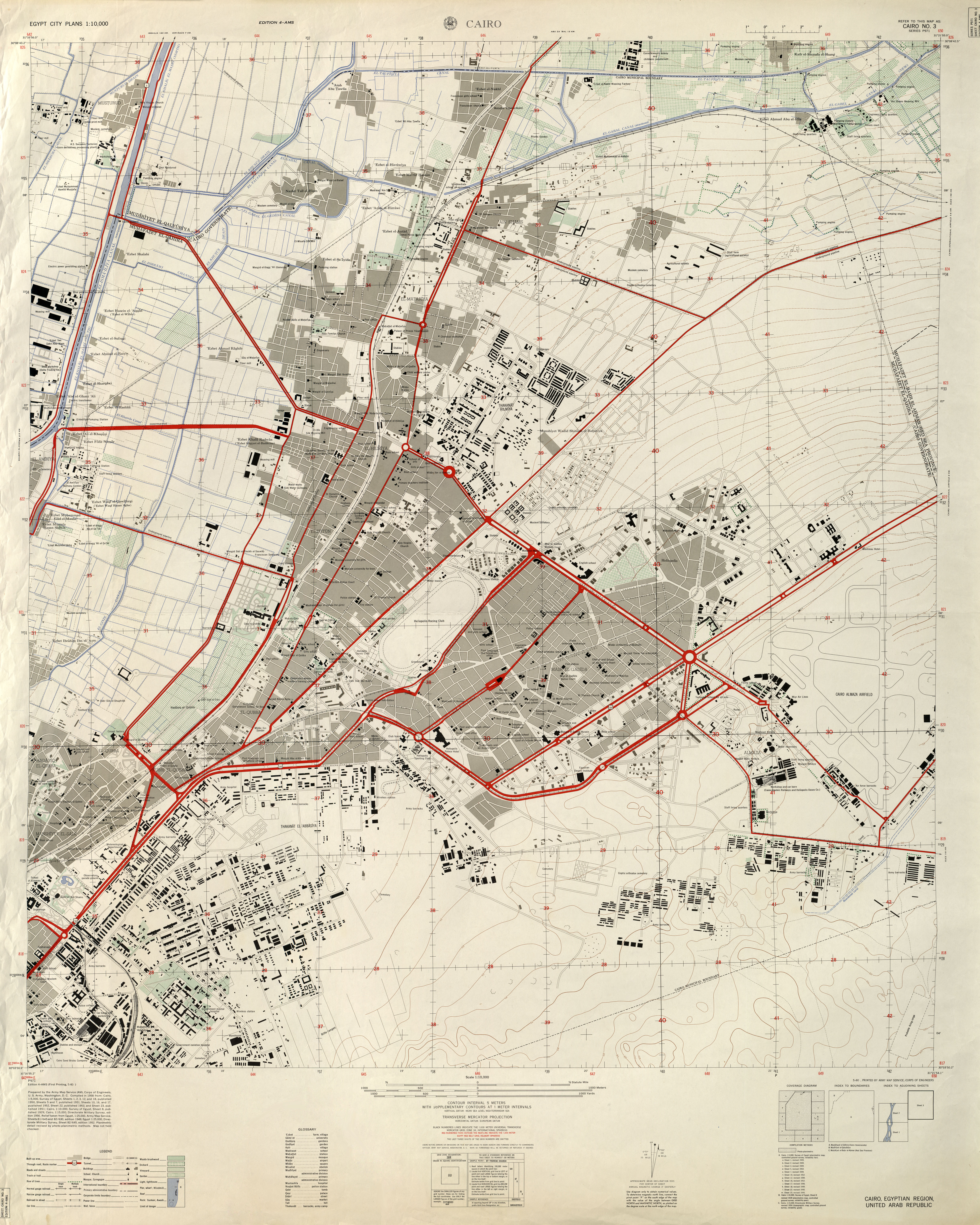 U S Army Map Service 1958 5 8mb Cairo Northeast