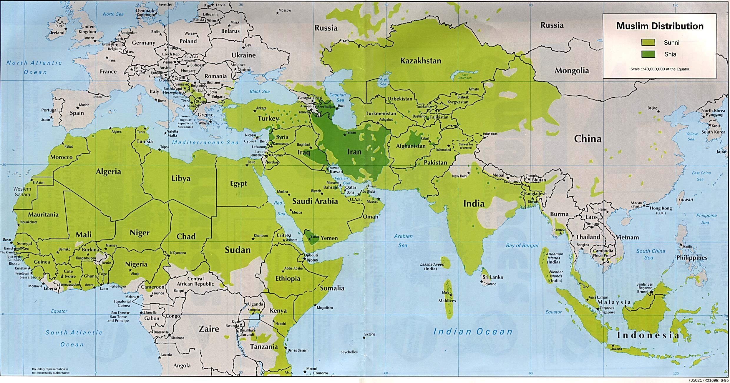Muslim Distribution Sunni and Shia World Political