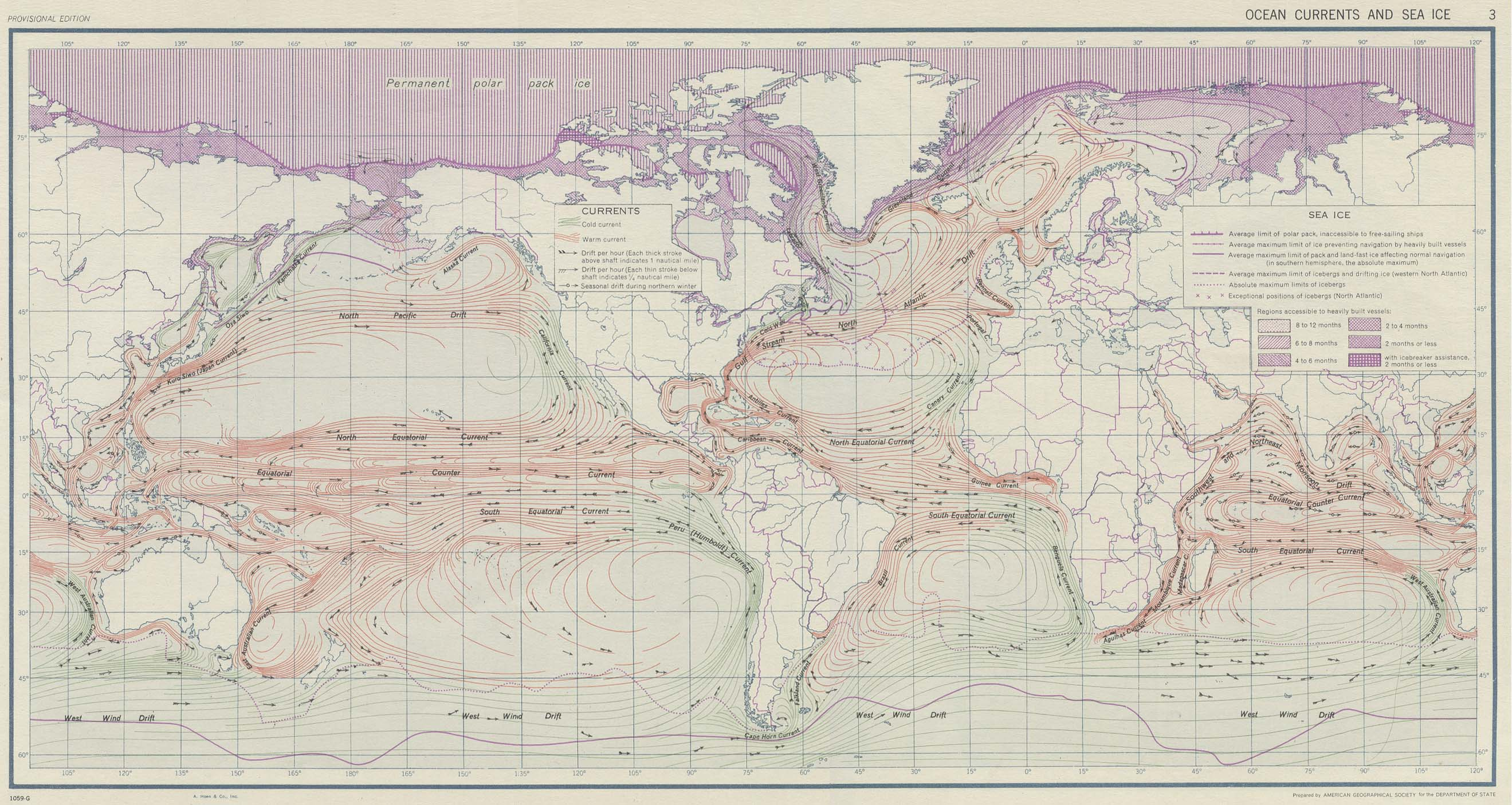 Ocean Currents And Sea Ice From Atlas Of World Maps United States